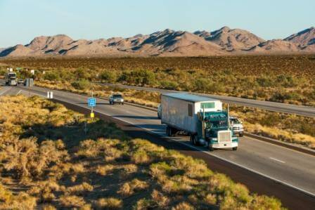 Traffic moving across America on interstate I-10